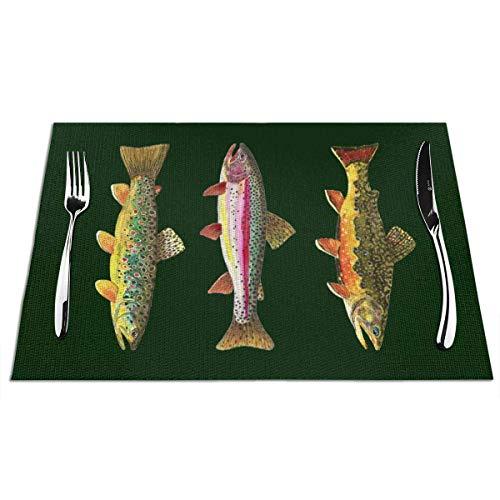 N / A 3 Forellen zum Fliegenfischen Esstischmatten Exquisite Tischsets für hölzernen Bauerntisch Weihnachtsessen 6,30 x 45 cm