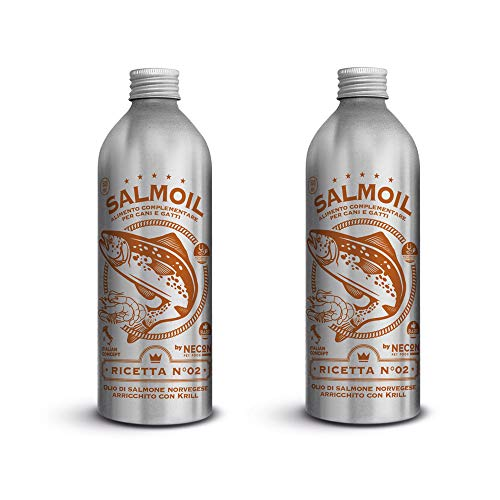SALMOIL by NECON Pet Food Receta 2, alimento complementario/alimento para Perros y Gatos a Base de Aceite de salmón Noruego y Krill 2x500ml, Rico en Vitamina E Omega3 sin conservantes, Made in Italy