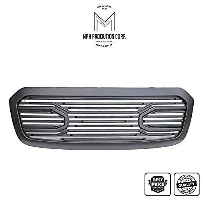 MPH Autoparts Matte Black Big Horn Style Front Hood Bumper Grill Grille ABS with Shell For 2013 2014 2015 2016 2017 2018 13-18 Dodge Ram 1500/2019 Ram 1500 Classic