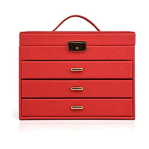 Sunmong Caja de Reloj Caja de joyería Caja de joyería Grande de 4 Capas, Ideal para Collares, aretes, Gafas de Sol, Pulseras, Relojes Caja organizadora de Joyas (Color: Rojo)