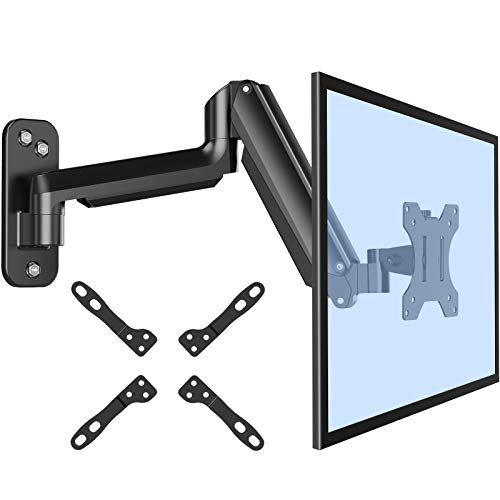 ErGear Monitor Wall Mount Bracket for 17 to 32 Inch Screens, Gas Spring Arm Wall Mount, Height Adjustable Articulating Single Wall Stand with Extended Arm Up to 18.3 Inch Fits Four VESA Mounting Sizes