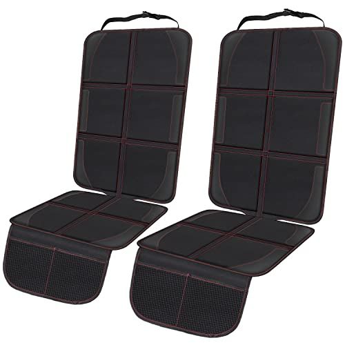 Car Seat Protector, 2 Pack Large Auto Seat Protectors Protect Child Seats with Mesh Pocket, Thickest...
