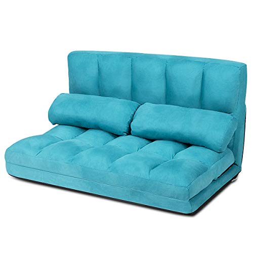 CASART. Folding Double Sofa Bed, Adjustable Floor Lounger with 2 Pillows, Armless Lazy Couch for Home Bedroom Living Room Office