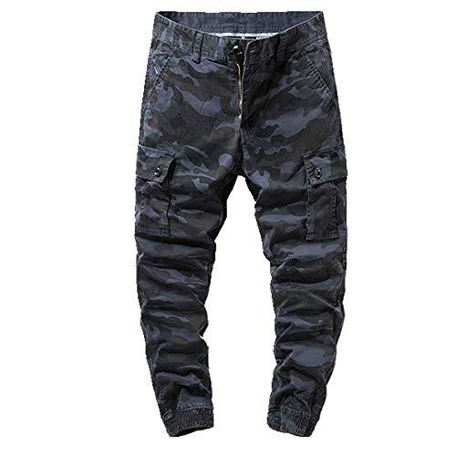 N\P Pantalones De Los Hombres Pantalones De Algodón Multi Bolsillos Elástico Flexible Hombre Casual