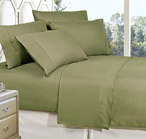 Elegance Linen123RW-6PC-1500-Q Sage Wrinkle Resistant Luxury 6-Piece Bed Sheet Set - 1500 Thread Count Egyptian Quality Silky Soft Sheet Set - Queen, Sage-Green