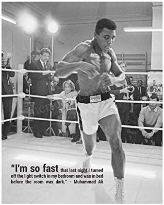 Muhammad Ali I m So Fast Motivational Quotes Wall Art 8 x 10 Vintage Boxing Photo Poster Print product image