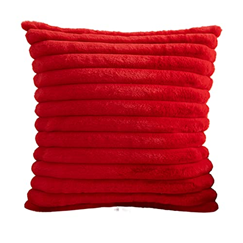 Hodeco Super Soft Throw Pillow Cover 20x20 Wide Hairy Stripes Double Side Thick Big Downy Fluffy Straps Decorative Furry Cushion Cover for Couch Bed Car 100% Polyester 50x50cm Bright Red, 1 Piece
