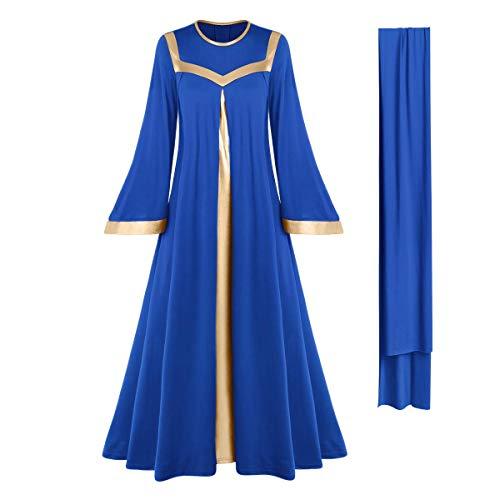 Women Gold Metallic Bell Long Sleeve Praise Dance Dresses with Belt Liturgical Church Dancewear Loose Fit Full Length Color Block Tunic Robe Lyrical Skirt Worship Costume Praisewear Royal Blue 2XL