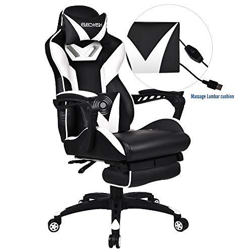 Massage Gaming Stuhl mit Fußstütze, Verstellbarer Hohe Rückenlehne Computer Schreibtisch Bürostuhl, Drehbarer Ergonomischer Stuhl mit Kopfstütze