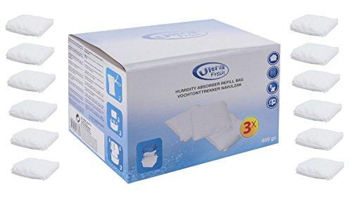 12 x 400 Gramm (4E) Luftentfeuchter Nachfüllpack Vliesbeutel XXL Box Granulate Nachfüllen Raumentfeuchter + gratis Microfasertuch -VANI- 30 x 30 cm