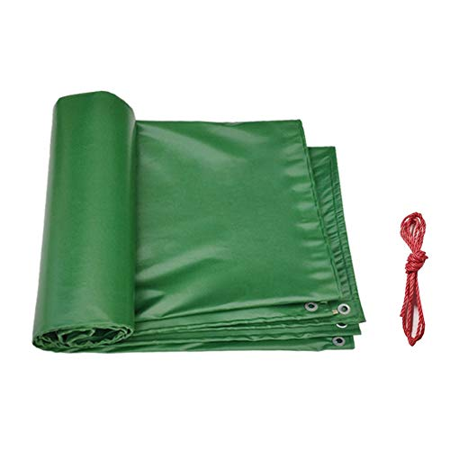 WXQIANG Heavy Duty Waterproof PVC Tarpaulin With Eyelets, UV-resistant Patio Telone For Porch Construction Site, Green 0.4mm Thick 500g/㎡ (Size : 1.9x3.9m)