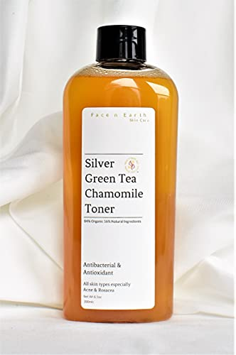 Colloidal Silver, Green Tea & Chamomile Toner 84% Organic All Skin Types Including Acne Rosacea pH 4.5 - 5.5 Vegan 6.6oz