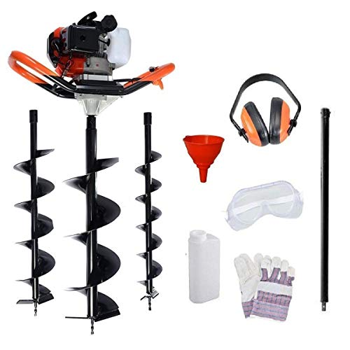 Dealourus 65cc 2Stroke Petrol Earth Auger Fence Post Ground Hole Borrer Digger 3HP V-Type | 3 Drill Bits Diameter (100,150,200mm), Safety Gear & Extension | 1 Year Warranty