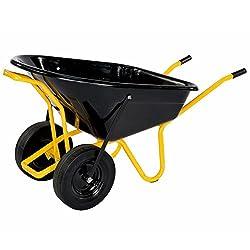 pro-bau-tec Doppelrad Schubkarre Twin mit PU Rädern, 160 L, 40100