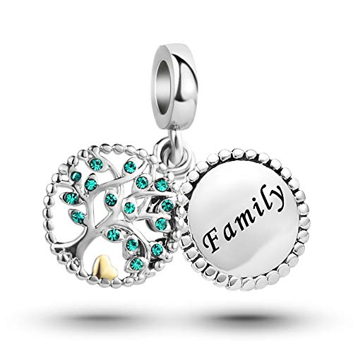 MiniJewelry Family Tree of Life Dangle Charm for Bracelets fits Pandora Charms Bracelets Women Green Crystal