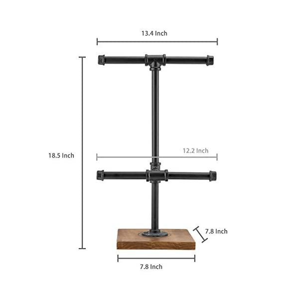 MyGift 2-Tier Metal Industrial Black Pipe T-Bar Jewelry Necklace & Bracelets Organizer Display Rack Tower w/Wood Base 5