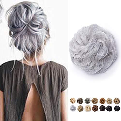 Chignon Capelli Extension Elastico Finti Hair Bun Updo Toupet Donna Ponytail Extensions Coda di Cavallo Posticci Ricci Ciambella 40g, Grigio Argento