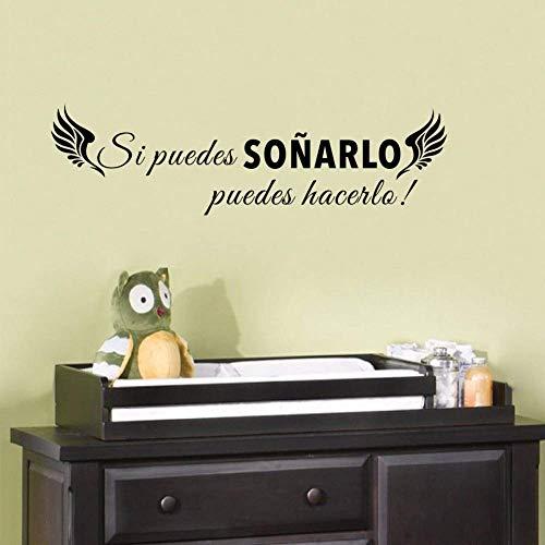 Frases clásicas en español si puedes soñar con la etiqueta engomada inspirada de la etiqueta de la pared del vinilo de la ala para la decoración casera 16X58Cmcm