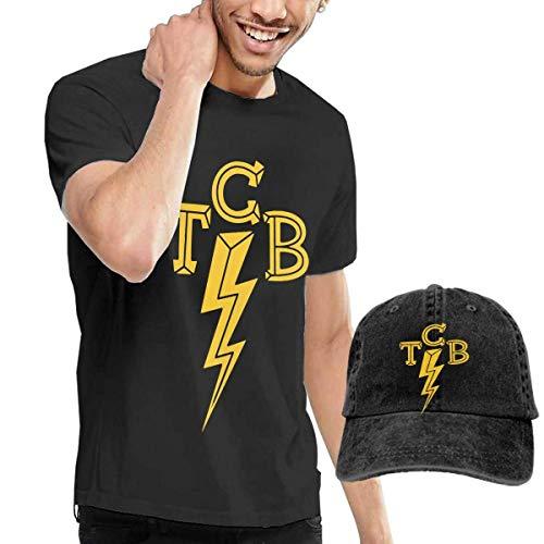 Thimd Herren T-Shirt und Kappe Schwarz, Elvis-The King of Rock 'n'roll TCB T Shirts and Washed Denim Baseball Dad Hats Black