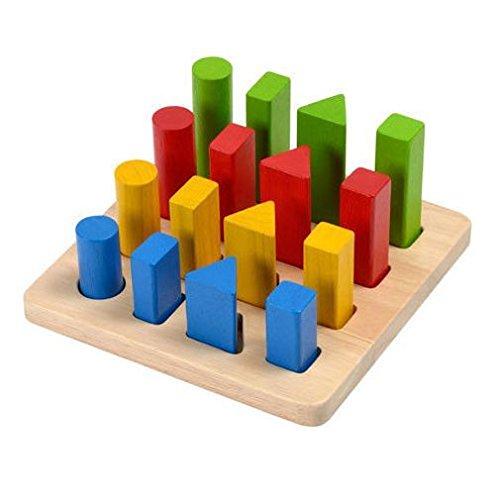 Plan Toys - 51250 - Jeu Educatif - Jeu des formes en bois , Multicolore