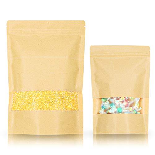 SumDirect 50 Stk Kleine Braune Papier Beutel Mit Sichtfenster, Papier Tütchen kraftpapier mit Boden für die verpackung von kaffee,tee lebensmittel und snack mehr (14 x 22 cm)