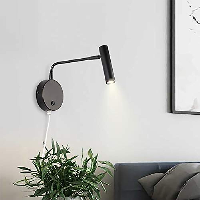 LED Wandleuchte mit Schalter Winkelverstellbar Treppenlicht Wohnzimmerwand Schlafzimmer Nachttischlampe-schwarz-Warm light