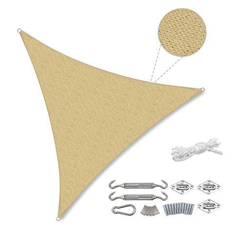 Sekey Toldo Vela de Sombra Triángulo HDPE Protección Rayos UV Resistente Permeable Transpirable para Patio, Exteriores, Jardín, 3× 3× 3m Arena, con Cuerda Libre y Kit de Montaje