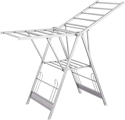 Tendedero para ropa de 2 niveles de aleación de aluminio para ropa interior y exterior, colgador plegable con zapatero para colgar