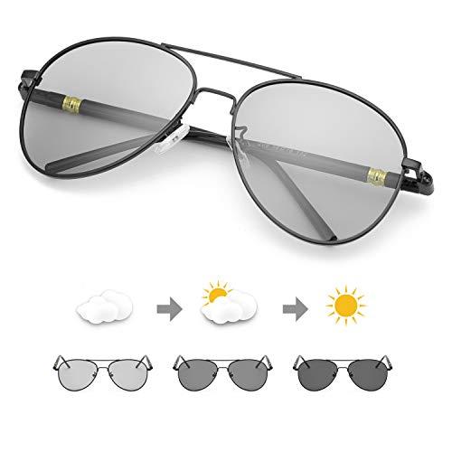 TJUTR Photochromic Pilot Sunglasses for Men with Polarized Lens for