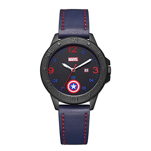 Towel Rings Marvel Student Watch Hombre Capitán América Escudo Cinturón Informal Reloj para Hombre Reloj De Cuarzo Fresco para Niños