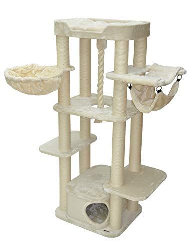 nanook Kratzbaum XL Katzenkratzbaum - XL Liegemulde - Katzenhöhle - für große Katzen - 177 cm beige