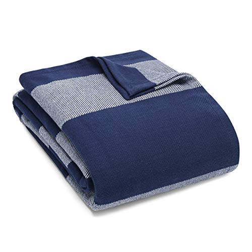 Eddie Bauer Boylston Bedding Collection 100% Cotton Light-Weight and Breathable Striped Pattern Blanket, Cozy and Soft Throw, Machine Washable, Twin, Navy