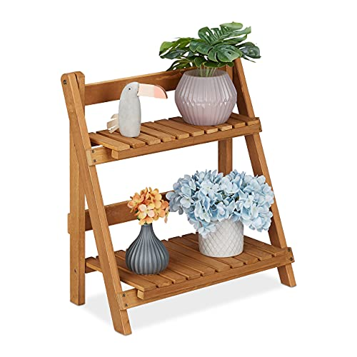 Relaxdays Blumentreppe Holz, klappbar, für innen & außen, 2 Ebenen, freistehend, HBT: 55x50x26 cm, Pflanzentreppe, braun