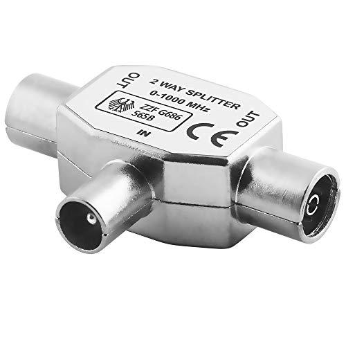 BestPlug TV Radio T Antennen-Adapter Verteiler Splitter Weiche, 1 Koax Stecker männlich auf 2 Koax Buchse Kupplung weiblich, geeignet für 3D SD HD FullHD UHD 4K, Metallausführung