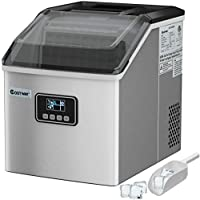 Costway 48-Lbs Stainless Steel Self-Clean Ice Maker with LCD Display