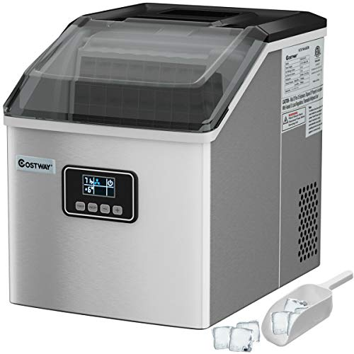 COSTWAY Ice Maker Countertop, 48LBS/24H Automatic Ice Machine with Self-Cleaning Function, Timer Function