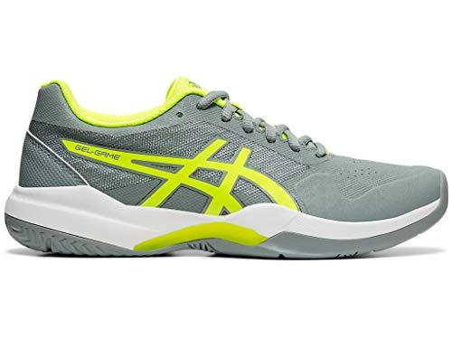 ASICS Women's Gel-Game 7 Tennis Shoes, 6M, Stone Grey/Safety Yellow