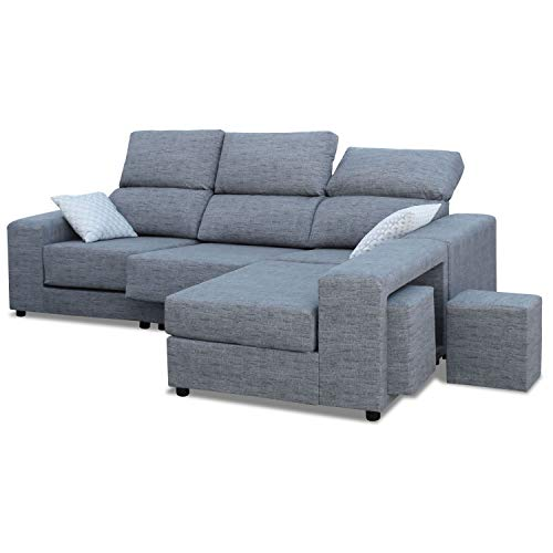 Mueble Sofa Chaiselongue, Subida Domicilio, 3 Plazas, Color Gris, Cheslong rinconera, ref-02