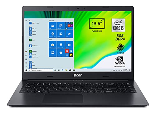 Acer Aspire 3 A315-57G-55JC Pc Portatile, Notebook con Processore Intel Core i5-1035G1, Ram 8 GB DDR4, 512 GB PCIe NVMe SSD, Display 15.6  FHD LED LCD, NVIDIA GeForce MX330 2 GB, Windows 10 Home, Nero