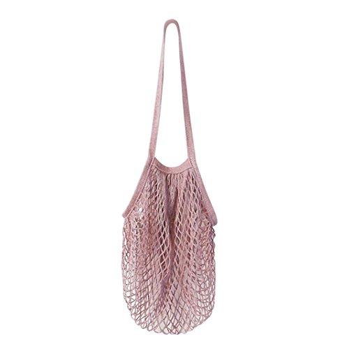 Damen Shopper Taschen FORH Frauen Einkaufstaschen Netze Tasche aus Baumwolle Tote Mesh Woven Net Umhängetasche für Sandspielzeug, Obst, Gemüse,Shopping Wiederverwendbar (Rose Rot)