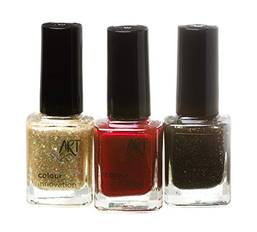 Art 2C, Colour Innovation - Set da 3 smalti per unghie classici, 3 x 12 ml - 3 colori glamour