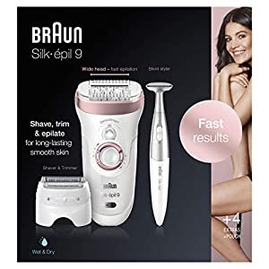 Braun Epilator for Women, Silk-epil 9 9-890 Hair Removal for Women, Bikini Trimmer, Womens Shaver Wet & Dry, Cordless and 7 extras, Rose Gold