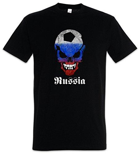 Urban Backwoods Black Russia Russian Football Soccer Skull Flag Hommes T-Shirt Noir Taille 4XL