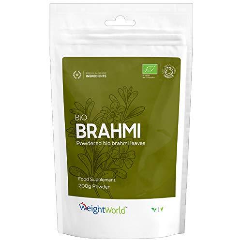 BIO Brahmi Pulver - Reine Bacopa Monnieri Gedächtnispflanze - Aus der Ayurveda - Natürlich & ohne Zusatzstoffe - 200g Brahmi Pulver