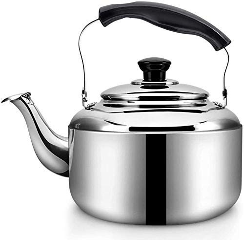 Bouilloire Cuisine en Argent 304 d'acier Inoxydable ménage Petite bouillante Eau sifflet d'induction cuisinière gaz gazeuse Universelle 4L XMJ