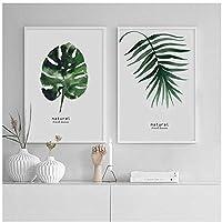 キャンバス絵画、水彩画植物緑の葉壁アートプリント北欧ポスター、リビングルームの装飾のためのミニマリストの壁の写真フレームなし
