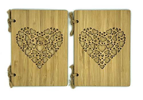 Bambuskarte Grußkarte mit Herz schöne Geburtstagskarte, Hochzeitskarte, Weihnachtskarte, Einladung – Karte handmade aus Bambus Holz zum Beschreiben mit Briefumschlag