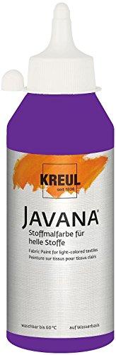 Kreul 91306 - Javana Stoffmalfarbe für helle Stoffe, 250 ml Glas in violett, geschmeidige Farbe auf Wasserbasis mit cremigem Charakter, dringt fasertief ein, waschecht nach Fixierung
