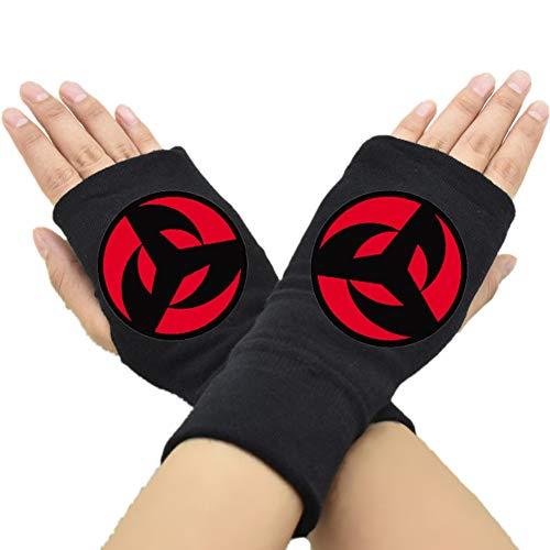 GOTH Perhk Anime Naruto Handschuhe Cosplay Handschuhe Fingerlose Handschuhe Half Finger Bedruckte Handschuhe Geschenk für Anime Fans Gr. Einheitsgröße, H11