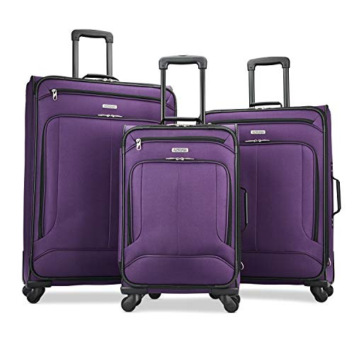 American Tourister Pop Max Softside Luggage with Spinner Wheels, Purple